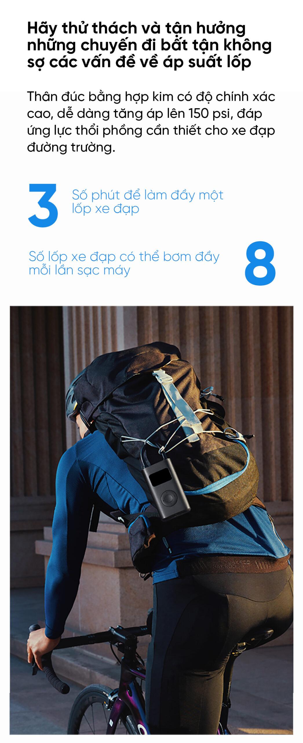 Máy bơm lốp cầm tay tự động Xiaomi Mijia MJCQ01QJ (3)