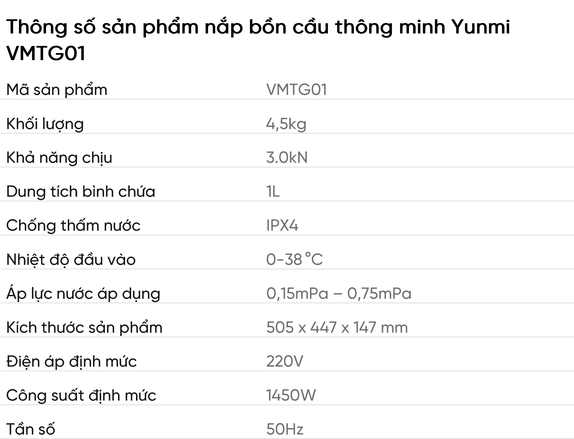 nắp bồn cầu thông minh Yunmi VMTG01